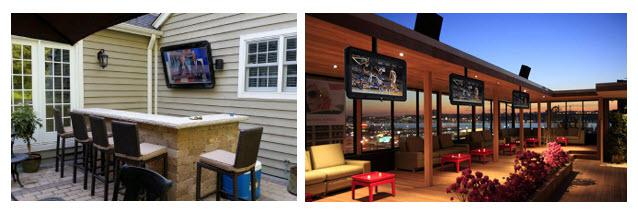 Wall and ceiling mounted outdoor TV