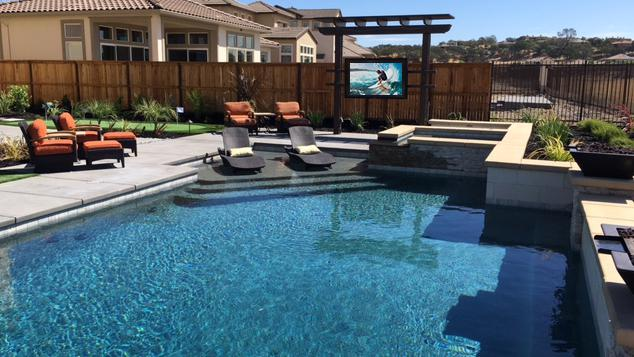 Outdoor TV Enclosure The TV Shield PRO by Pool in Backyard